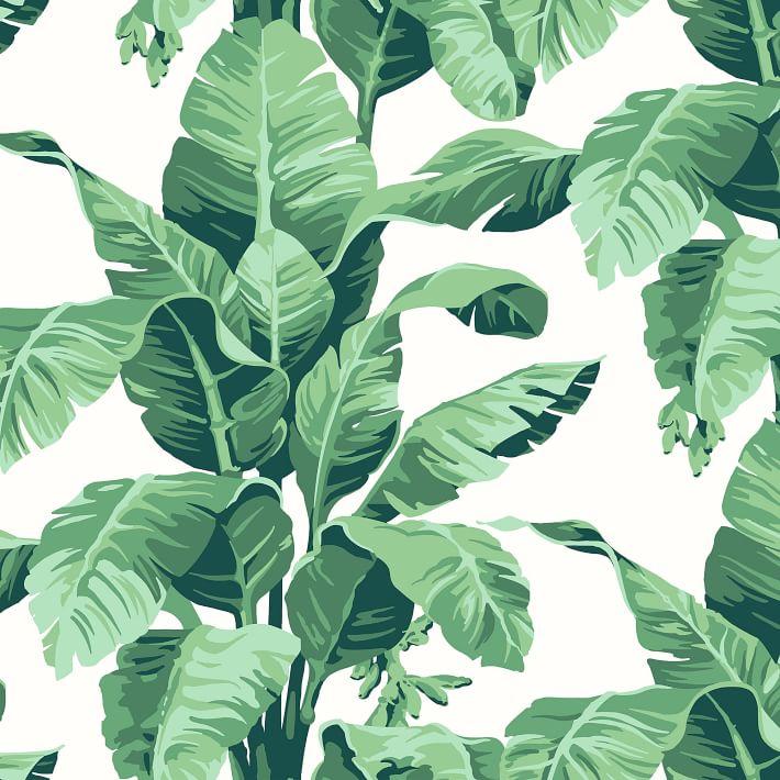 Wallshoppe Tropical Leaf Print Removable Wallpaper