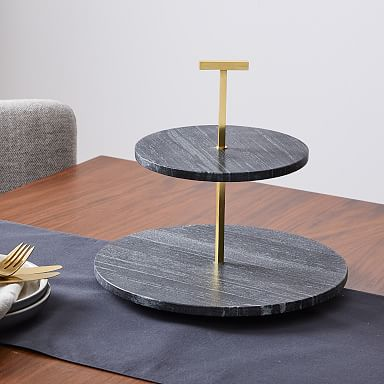 2 Tiered Marble Cake Stand - Black