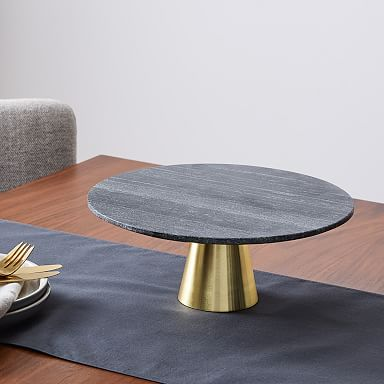 Tiered Marble Cake Stand - Black