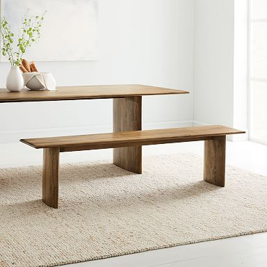 Anton Solid Wood Dining Bench - Burnt Wax
