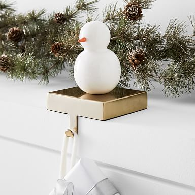 Enamel Snowman Stocking Holder