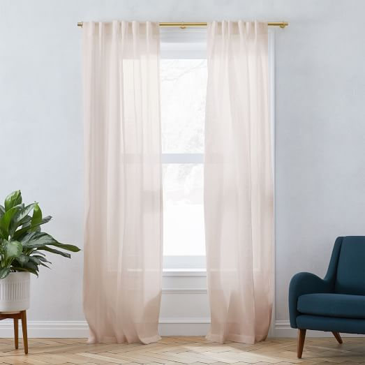 West Elm Two 2 Sheer Metallic Belgian Flax Linen Curtains 48x84 Dusty Blush