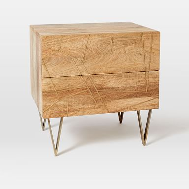 Roar & Rabbit™ Brass Geo Inlay Nightstand - Raw Mango
