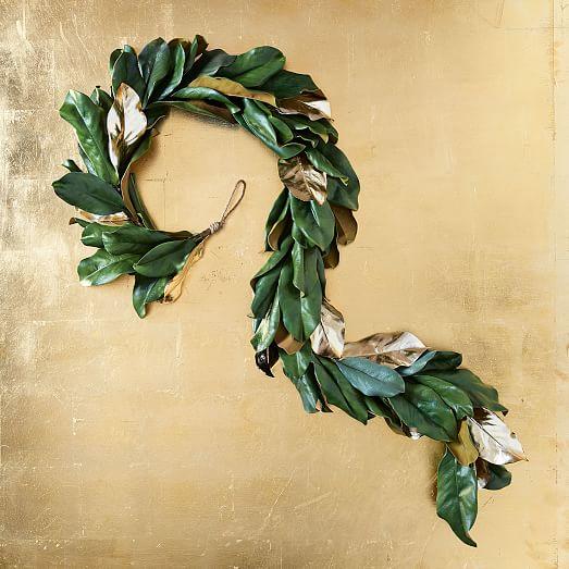 Faux Gold Metallic Magnolia Leaves Garland