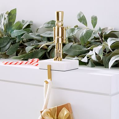 Brass & Marble Nutcracker Stocking Holder