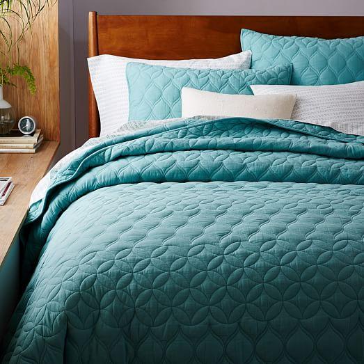 Mid Century Circlet Ogee Quilt Shams, Mid Century Queen Bedspread