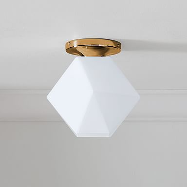 Sculptural Glass Faceted Flushmount - Milk