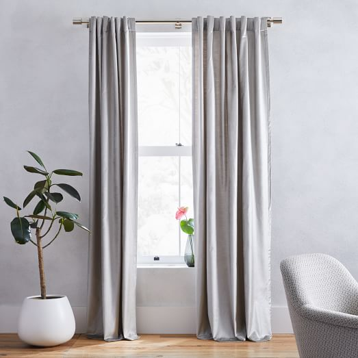 Luster Velvet Curtain Platinum