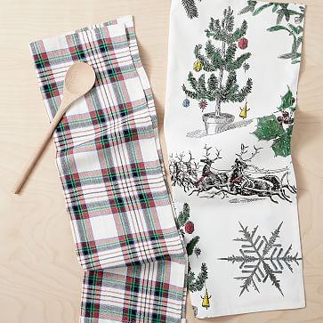 Christmas Penguin 100/% Cotton Three Pack Kitchen Tea Towels in Grey for The Festive Season
