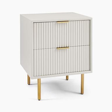 Quinn Lacquer Nightstand - Haze/Antique Brass