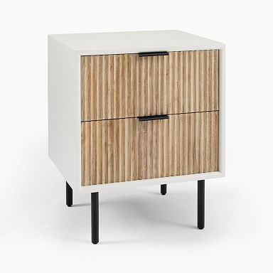 Quinn Wood Nightstand - White/Antique Bronze