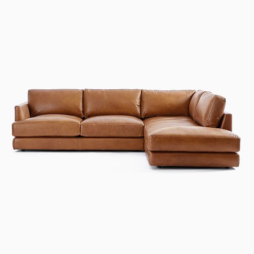 Haven Leather 2 Piece Terminal Chaise, Leather Sectional Furniture