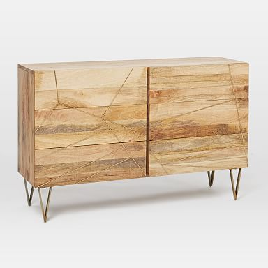 Roar & Rabbit™ Brass Geo Inlay 6-Drawer Dresser - Raw Mango
