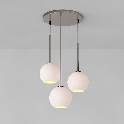 Sculptural Glass 3 Light Globe Chandelier Milk