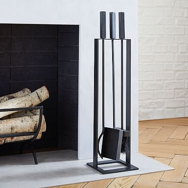 Industrial Fireplace Tools - Black