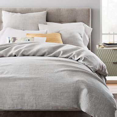 European Flax Linen Fiber Dyed Duvet Cover & Shams - Frost Gray