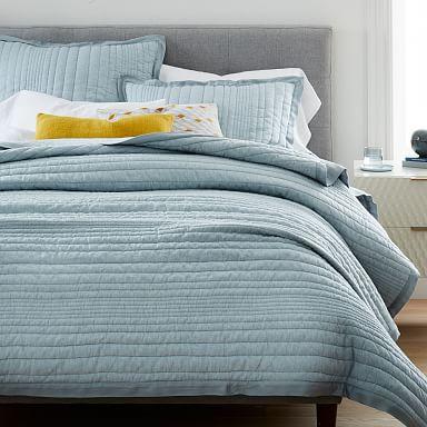 European Flax Linen Linework Quilt & Shams - Washed Blue Gemstone