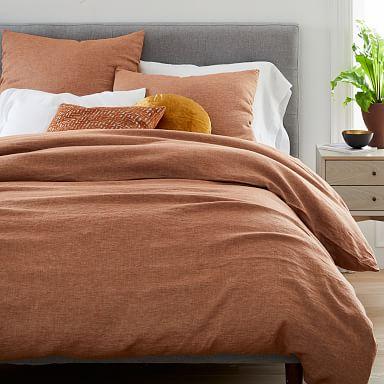 European Flax Linen Melange Duvet Cover & Shams - Terracotta