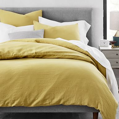 European Flax Linen Duvet Cover & Shams - Sand Yellow