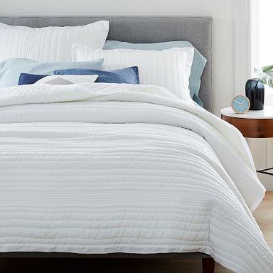 European Flax Linen Linework Quilt & Shams - White