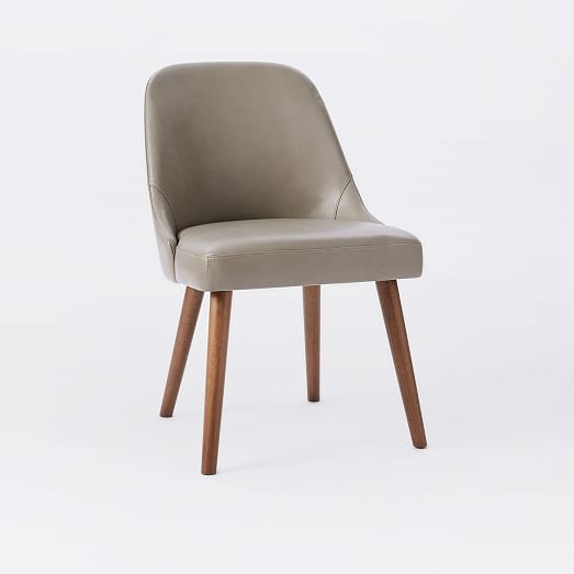 Mid Century Leather Dining Chair Wood Legs