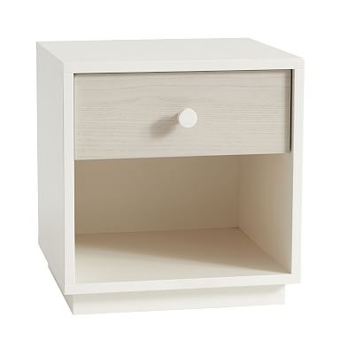 Milo Nightstand - Pebble / White
