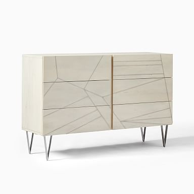 Roar & Rabbit Silver Geo Inlay 6-Drawer Dresser - Bone