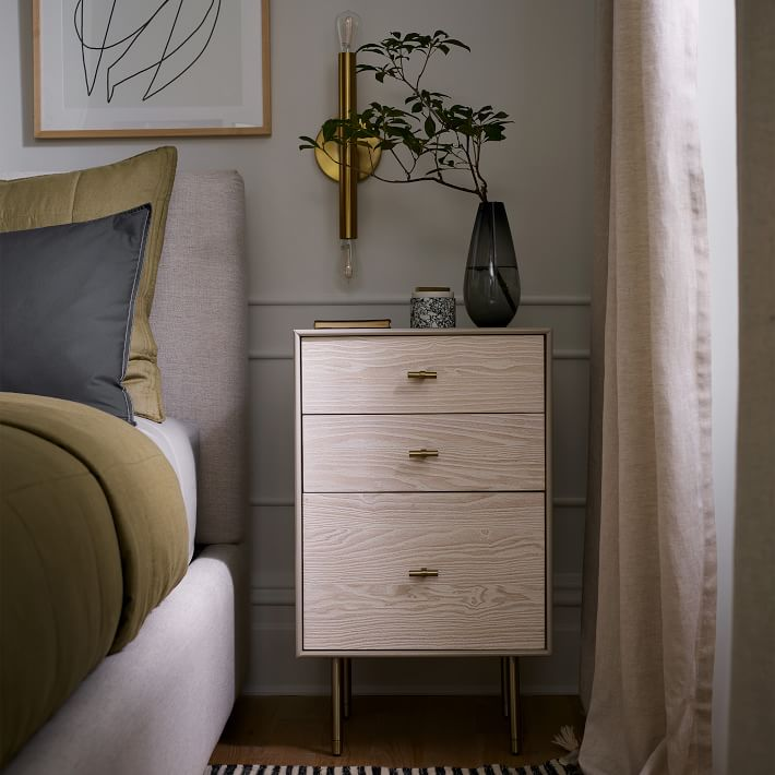 modernist wood and lacquer nightstand west elm