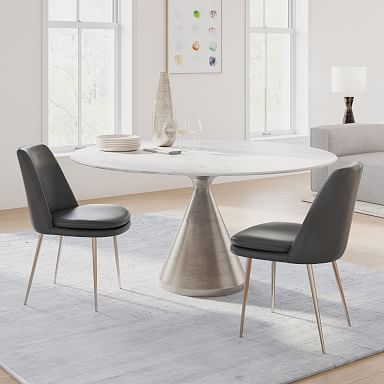 Silhouette Pedestal Round Dining Table - White Marble/Brushed Nickel