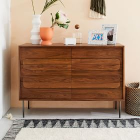 Gemini 6 Drawer Dresser Walnut
