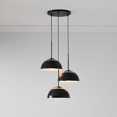 Sculptural Metal 3-Light Chandeliers