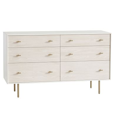 Modernist 6-Drawer Dresser - White