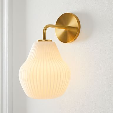 Sculptural Glass Ribbed Sconce