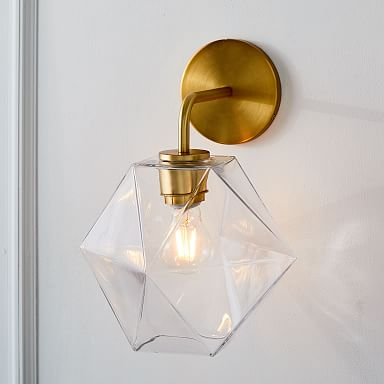 Sculptural Glass Faceted Sconce - Clear