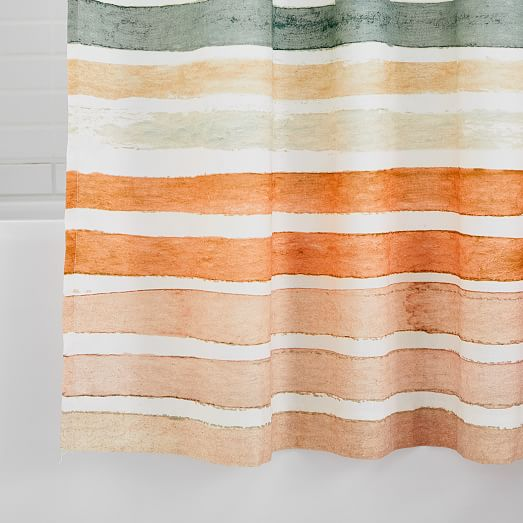 Organic Watercolor Stripe Shower Curtain