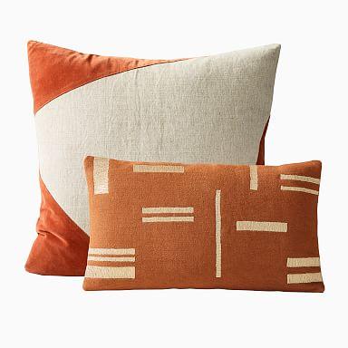 Cotton Linen Velvet Corners & Metallic Blocks Pillow Cover Set