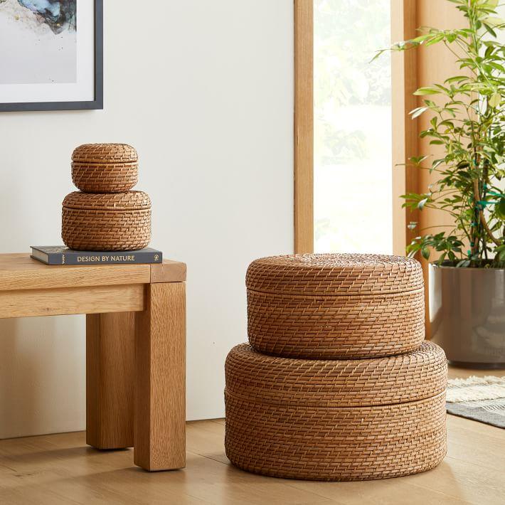 modern weave round lidded baskets west elm