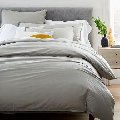 Organic Washed Cotton Percale Duvet Cover & Shams - Platinum