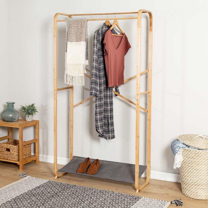 bamboo canvas garment rack west elm