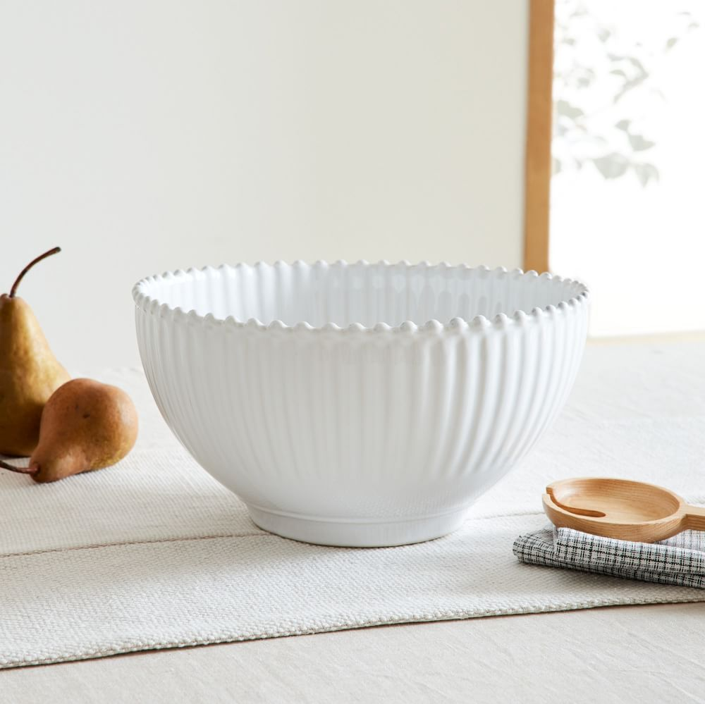 Pearl White Salad Bowl