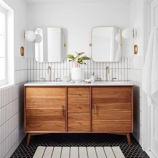 Mid Century Double Bathroom Vanity 63 Acorn