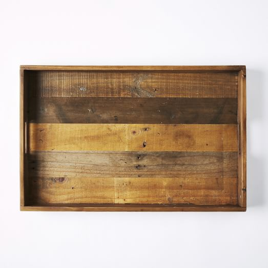 Reclaimed Wood Serving Tray w Center Handle