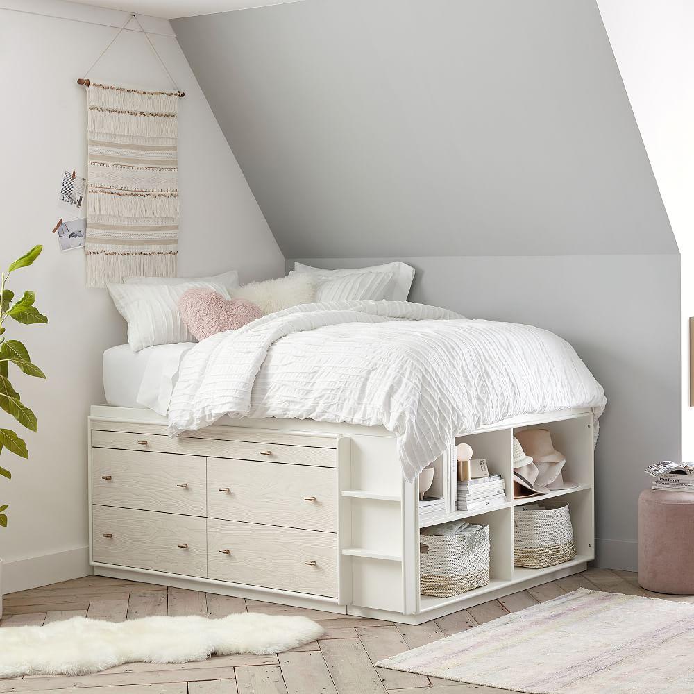 Modernist Captain's Bed - White & Winter Wood