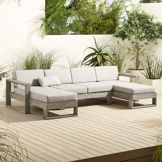 Portside Outdoor 3 Piece U Shaped Sectional, Outdoor Furniture Sectionals
