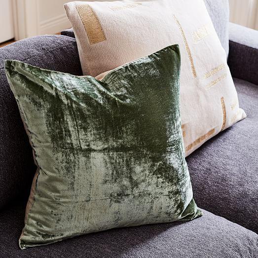 Green and Gray Crosshatch Velvet