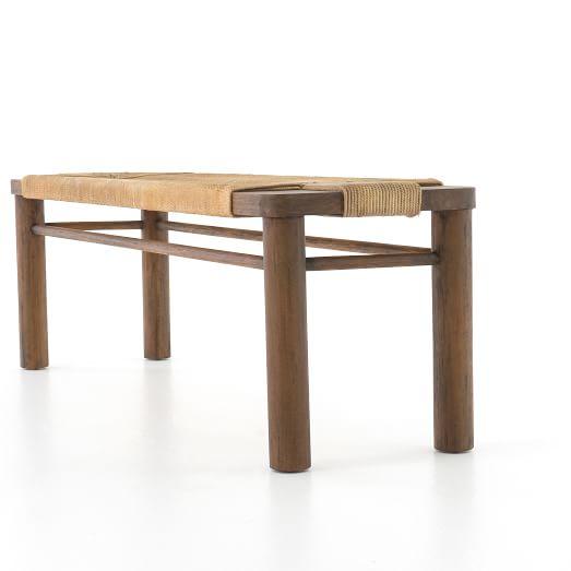 Mahogany Woven Rope Bench - Solid Mahogany Wood Entry Wall Console Sofa Table