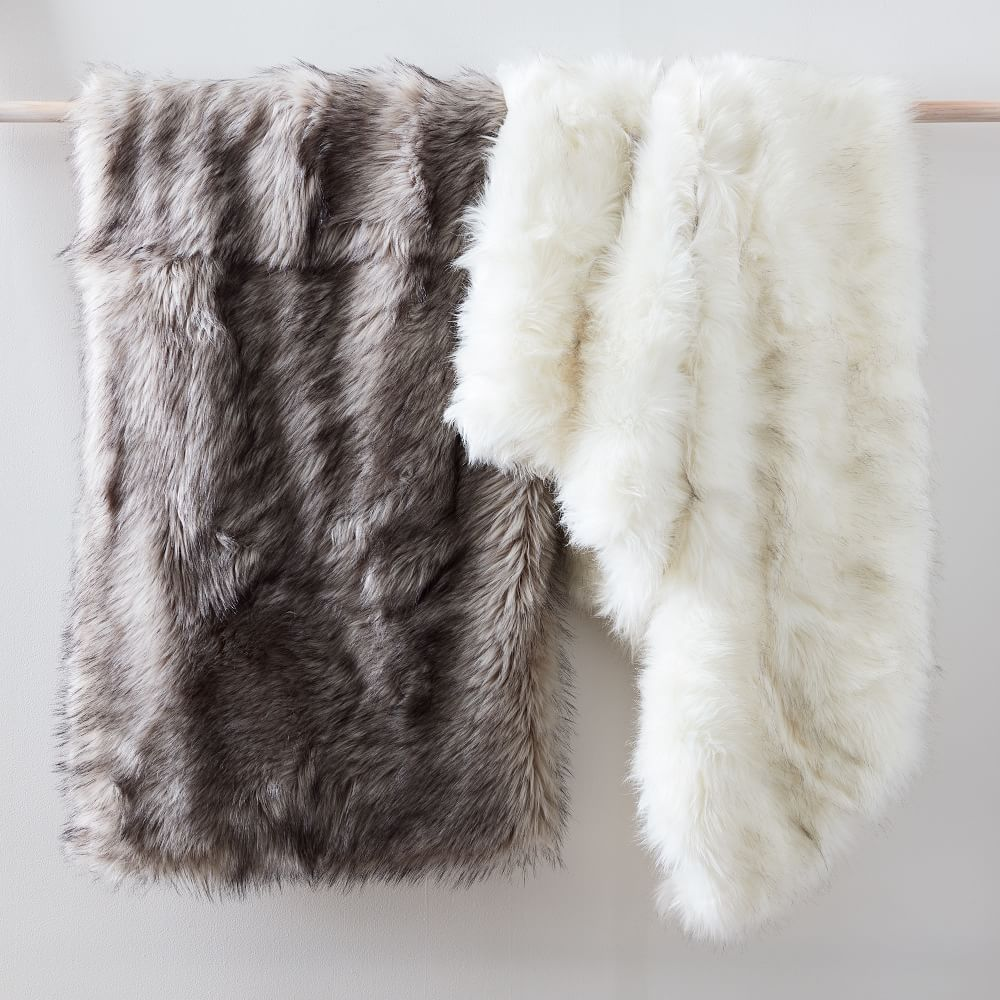 Shop Faux Fur Brushed Tips Throw from West Elm on Openhaus