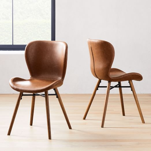 Uma Faux Leather Dining Chair Set Of 2, Brown Leather Dining Chair