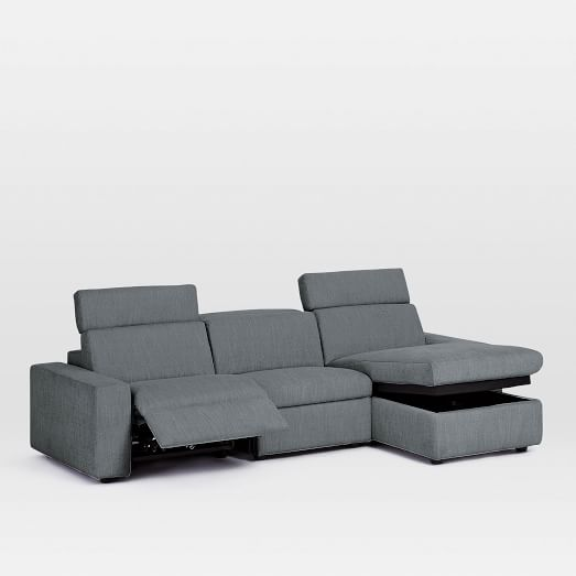 Enzo 3 Piece Reclining Chaise Sectional, Sectional Sofa Recliner