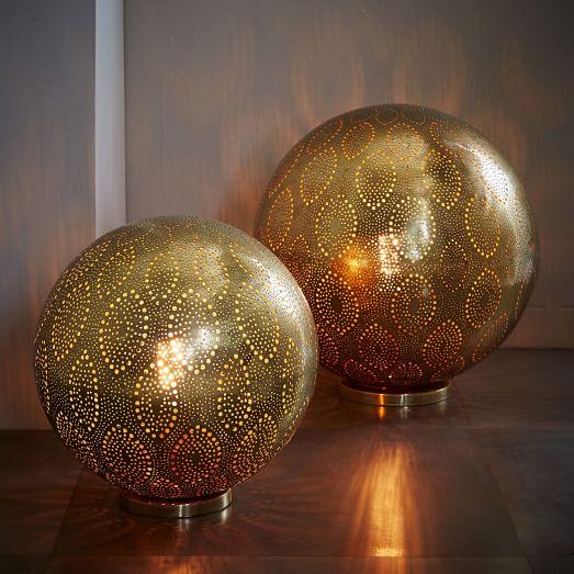Moroccan Metal Orb Light Floor Lamps